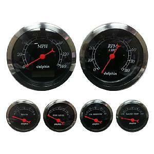 Dolphin Black 6 Gauge Electronic Speedometer Kit Hotrod/streetrod/ford/chevy