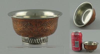 Antique Tibetan Tibet Silver Lined Copper Tea Bowl Cup Two Fish Lotus Flowers