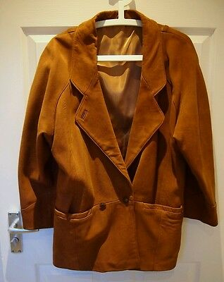 Women's vintage urban outfitters real leather brown suede coat size S/M 10/12