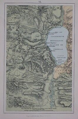 Original 1884 Map SEA OF GALILEE Lake Tiberias Nazareth Capernaum Jezreel Israel