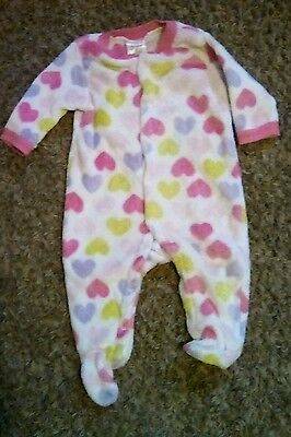 Infant Girl's Size 3-6 Month Fleece Footie Pajamas with Hearts