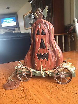 Wooden Country Pumpkin In A Wagon Fall Decor