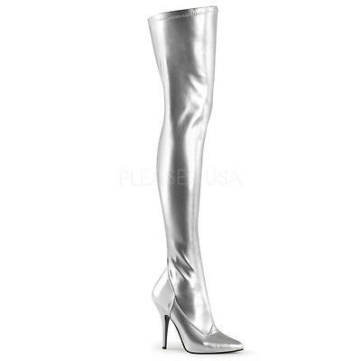 "Silver Pleaser 5"" Women's Wide Fit, 7,8,9,10,11,12,13,stretch ,thigh High Boot"