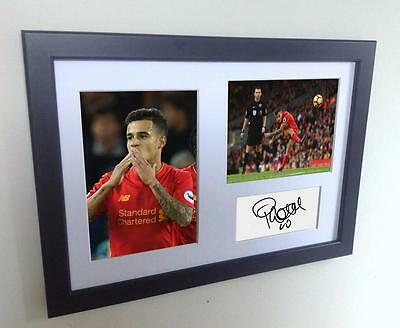 Signed Coutinho Liverpool Autographed Photo Photograph Picture Frame Print A4