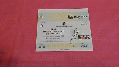 Great Britain v Australia 1st Test 1990 Used Rugby League Ticket