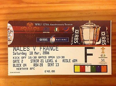 Wales v France 2006 Used Rugby Ticket