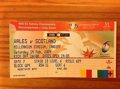 Wales v Scotland 2004 Used Rugby Ticket
