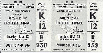 1966 World Cup Finals Ticket West Germany v Switzerland Excellent Condition