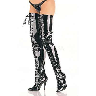 "Pleaser 5"" Black Patent Women's ,7,8,9,10,11,12,13 Wide Fit,thigh High Boots"