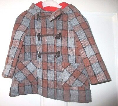 Traditional vintage  brown grey  check  duffle coat age  approx 2 YRS