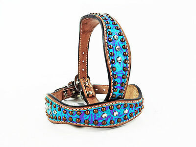 """10"""" Turquoise Floral Western Style Leather Silver Bling Canine Dog Collar Small"""