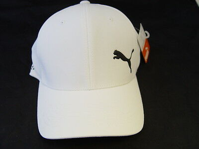 Puma Front 9 X-Fit Flex Fit Fitted Golf Baseball Hat Size S/M White NEW!