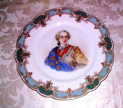 1846 French SEVRES Artist Signed DEBRIE Porcelain King Louis XV  antique plate