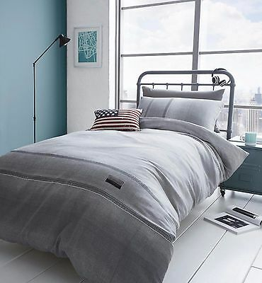 Catherine Lansfield Denim Grey Quilt / Duvet Cover Bedding Single, Double, King