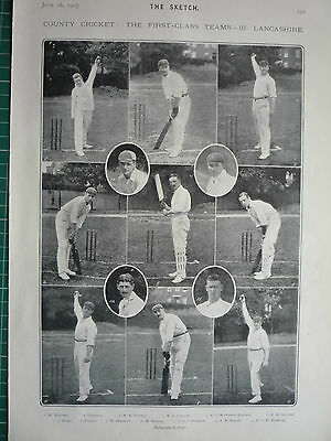"""County Cricket. """" The First Class Team Lancashire."""" 1905."""