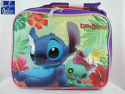 "9.5"" Lilo & Stitch Pink Color Girl's Kid's Back To School Lunch Kit Bag"