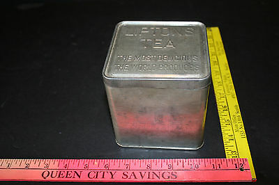 Old Metal Lipton Tea Can Tin Planter Ceylon 1930's Container Canister