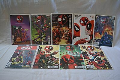 Spiderman and Deadpool 9 comic book lot #1-10 + action figure variants for #1