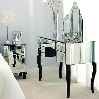 Silver Luxury French Triple Folding dressing table mirror Console Stand Mirrored