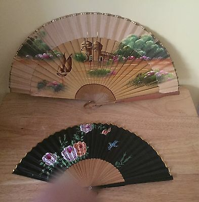 Vintage Bamboo and Silk Hand Painted Fan Set Of 2