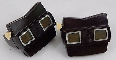 Lot of 2 Vintage View Master Toys Brown Style Tested & Working USED ViewMasters