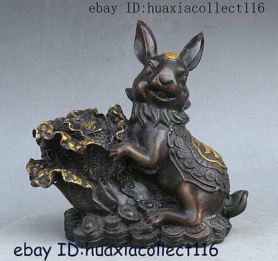 China Fengshui Bronze Yuanbao Money Fu Cabbage Rabbits Wealth Auspicious Statue