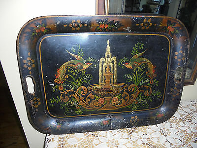 Antique Hand Painted Toleware Tray~Birds of Paradise/ Floral Delight