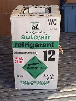 Freon R-12 refrigerant 20 lbs new sealed disposable cylinder