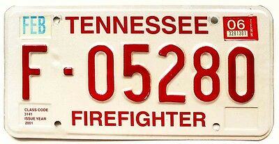Tennessee 2006 Firefighter Fireman License Plate, Rescue, EMT