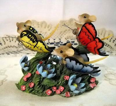 "Vtg Charming Tails ""Catching Up with Friends"" Mice on Butterflies Fitz & Floyd"