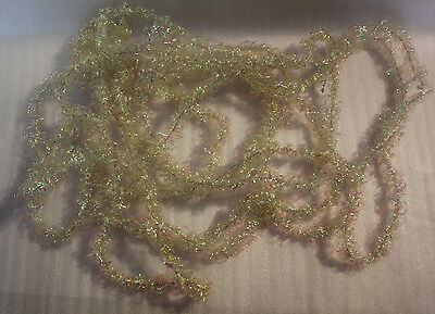 Old Vintage Christmas Tree Tinsel Garland Decoration Shiny Cream Approx 20 Feet