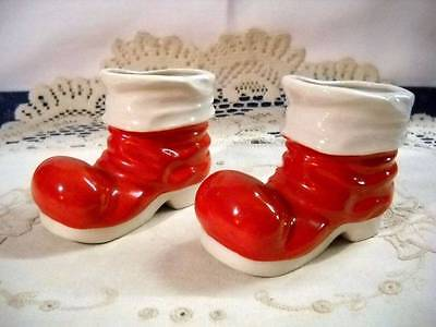 2 Vintage Japan 1950s Santa's Boots Christmas Candy Containers Ceramic
