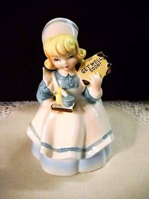 "Vintage Lefton Nurse ""Get Well Soon"" Planter Figurine Japan #4292"