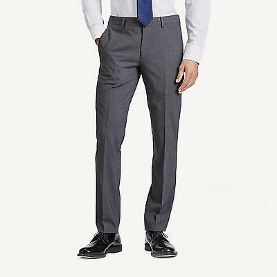 BONOBOS Heathered Gray MARZOTTO Wool Flat Front SLIM STRAIGHT Fit Dress Pants 31