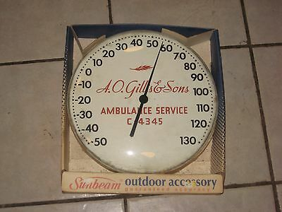 Vintage A.O. GILLIS & SONS Bubble Glass Advertising Thermometer; NOS