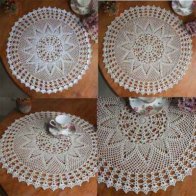 White Vintage Cotton Round Hand Crocheted Lace Doily Placemat Flower Tablecloth