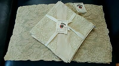 Vintage Set - 4 Hand Run Alencon Lace Placemats & 8 Napkins Made in France Ecru