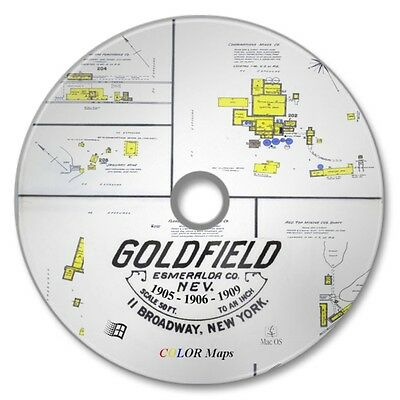 Goldfield, Nevada 21 Color Sanborn Maps Sheets 3 Yr Set 1905-1906-1909 on New CD
