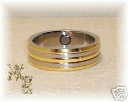 Stainless Steel 2 Tone Linear Style Magnetic Ring Sz 11