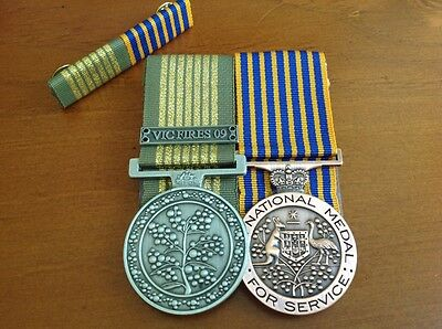 National Emergency Medal Vic Fire 2009 and National Medal with matching bar