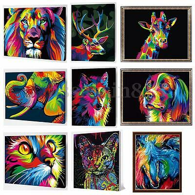Painting By Number Kit Multi-Colored Puppy Animal Pet Home Decor Wooden Framed