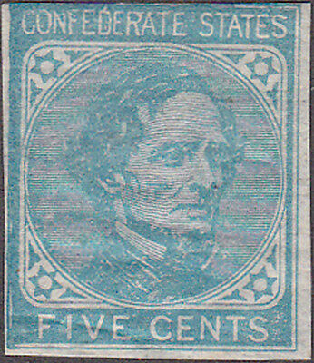 Confederate #7 Five Cent Stamp on London Paper Original Gum Never Hinged