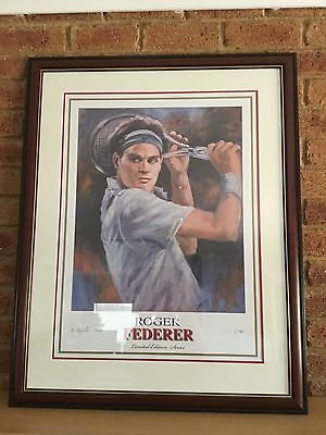 Roger Federer Limited Edition Painting Lithograph Framed Signed By Artist