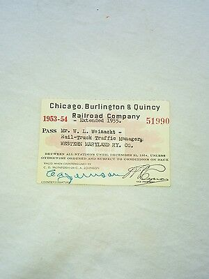 Chicago Burlington & Quincy Railroad Pass (1953)