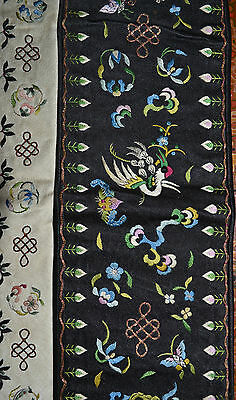 Chinese Embroidery Panel or Sleeve Band Birds Bats Flowers Antique
