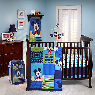 M Is For Mickey Mouse 6 - piece Crib Bedding set  W Mobile & Bumper