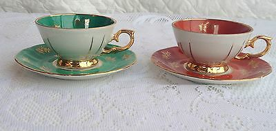 RARE!  2 East Germany Romantic Scene Green & Red DemitasseTea Cup & Saucer 58a