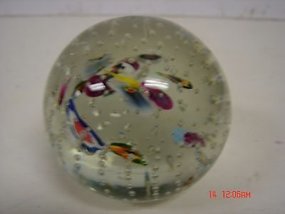 Vintage Art Glass Paperweight Bubbles Floating Flower Petals Type Pattern