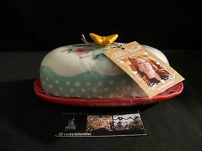 Pioneer Woman Butterfly butter dish floral orange butterfly