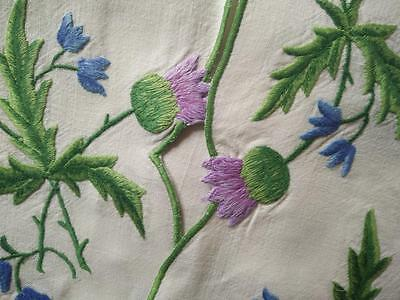 Vintage Embroidered  'Oh Bonnie Scotland' Purple Thistles ~ Tablecloth